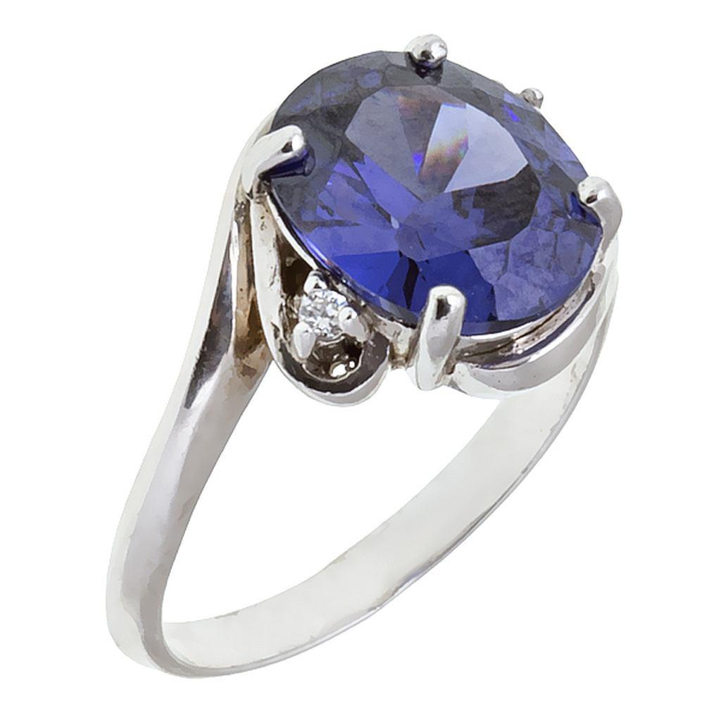 танзанит в серебре -кольцо