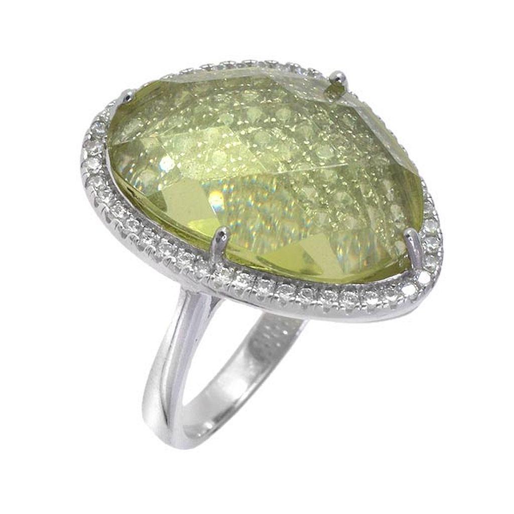 кольцо с лимонным кварцем в серебре