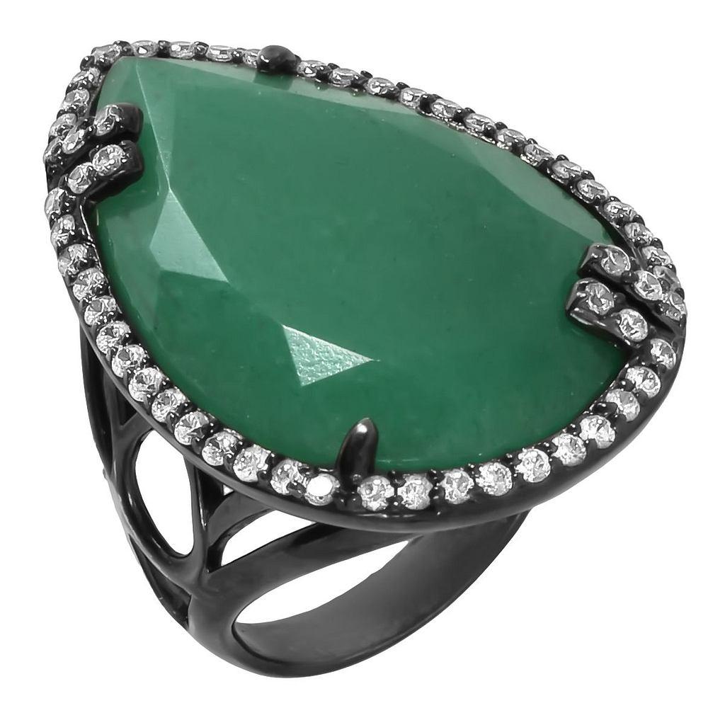 серебряное кольцо с черным родированием и хризопразом