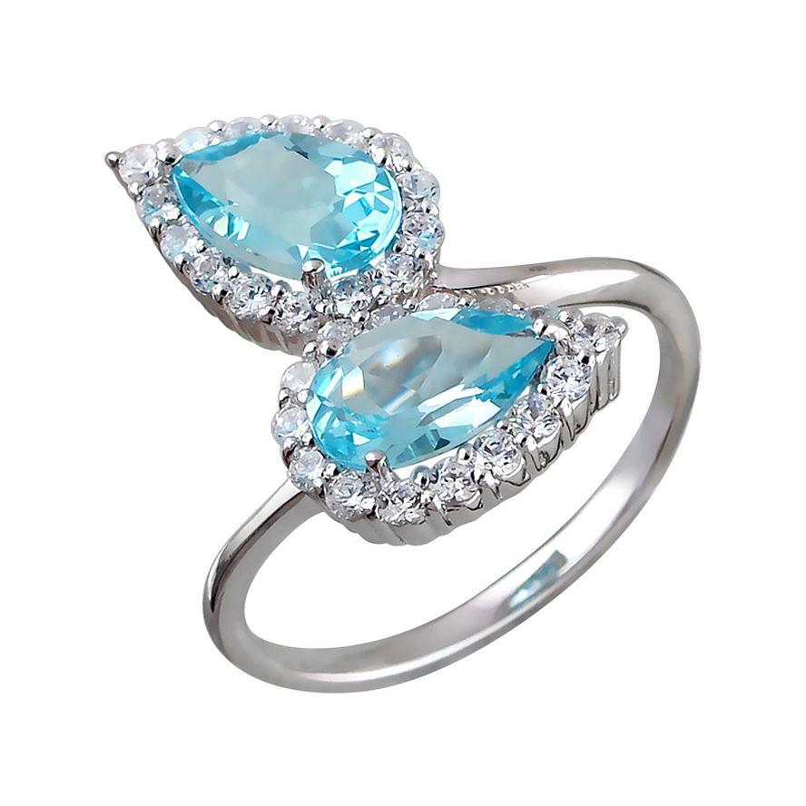 кольца с голубыми топазами